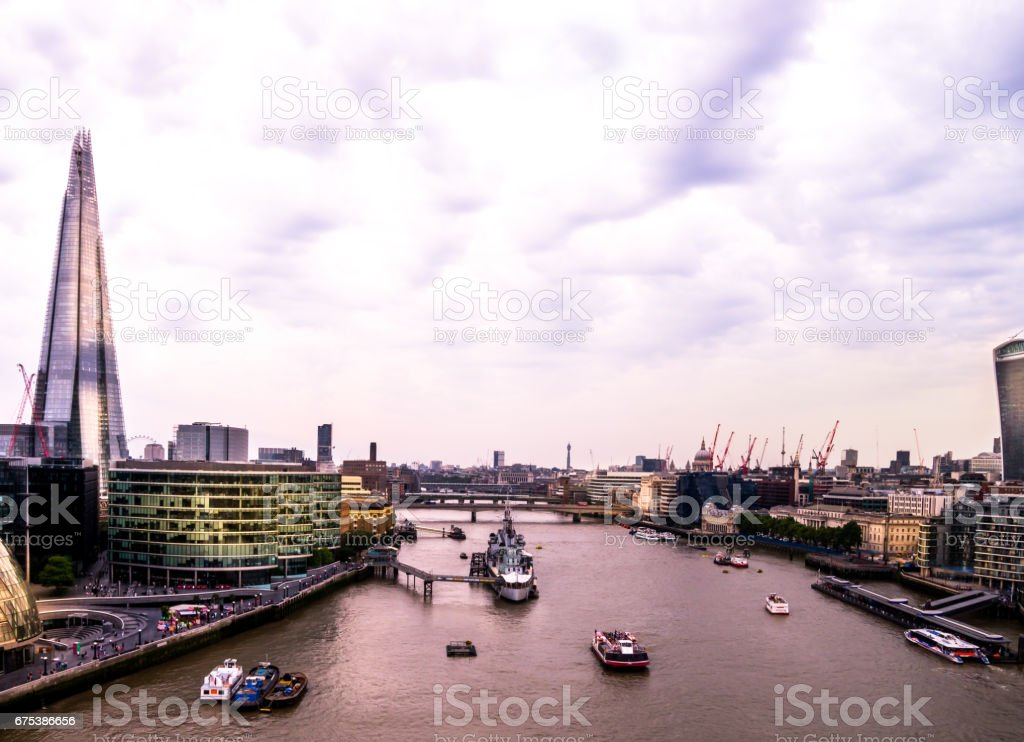 London Skyline and River Thames stock photo