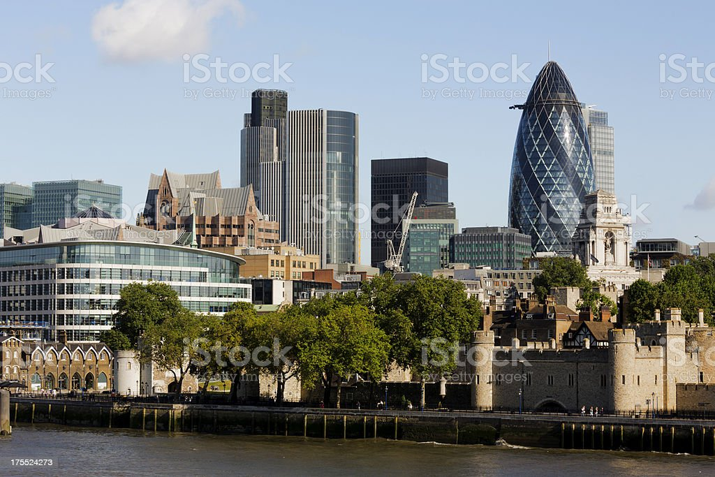 London skyline and view of the Thames stock photo