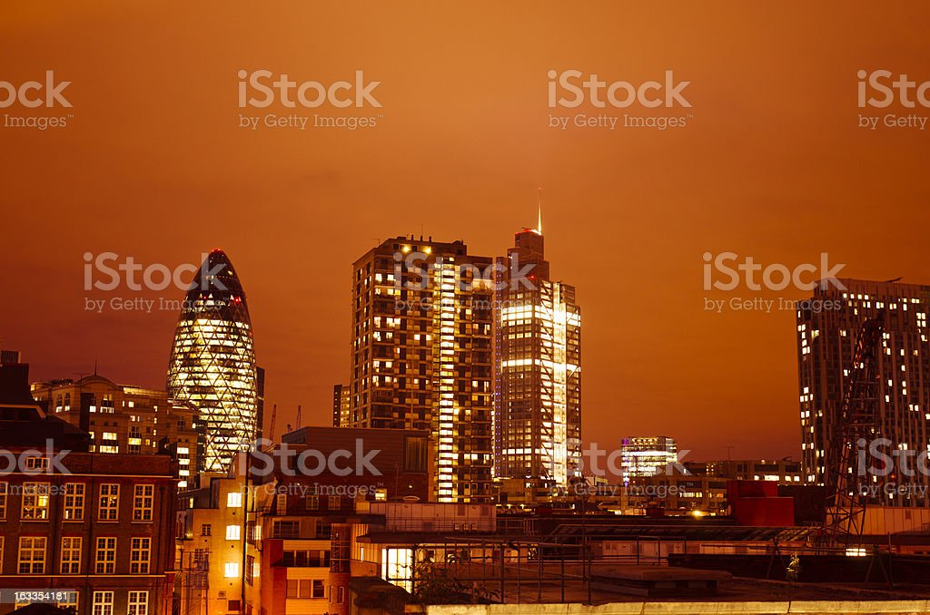 London skyline architecture in night after sunset royalty-free stock photo