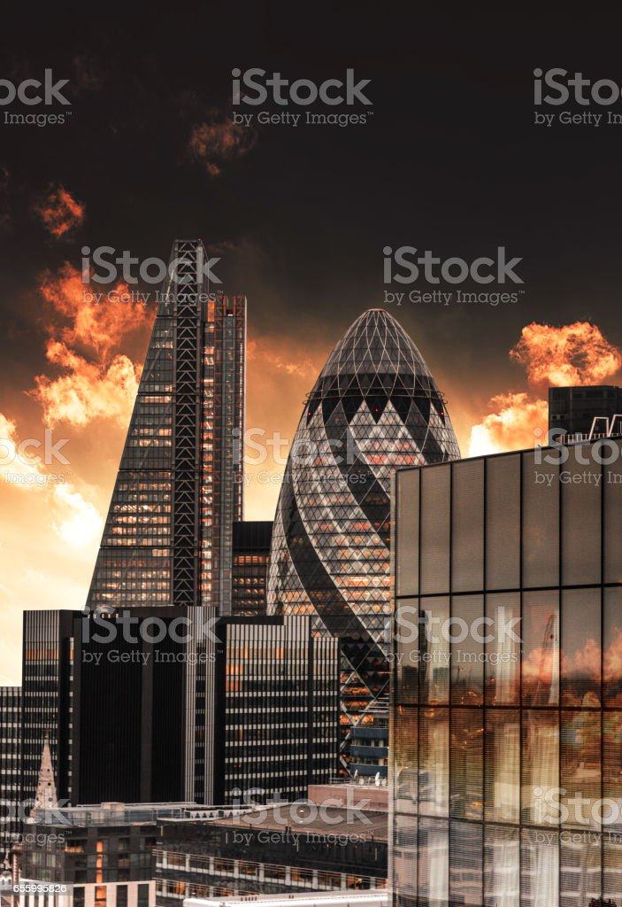 london skyline at dusk stock photo