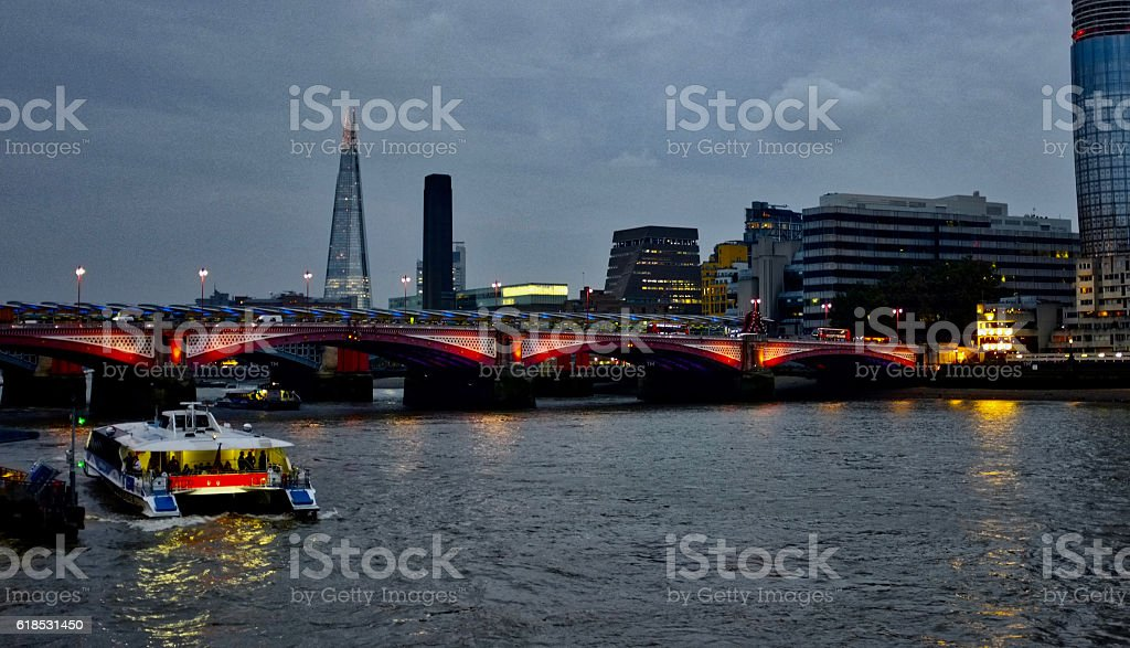 London skyline at dusk, river thames, the Shard, Tate Modern stock photo