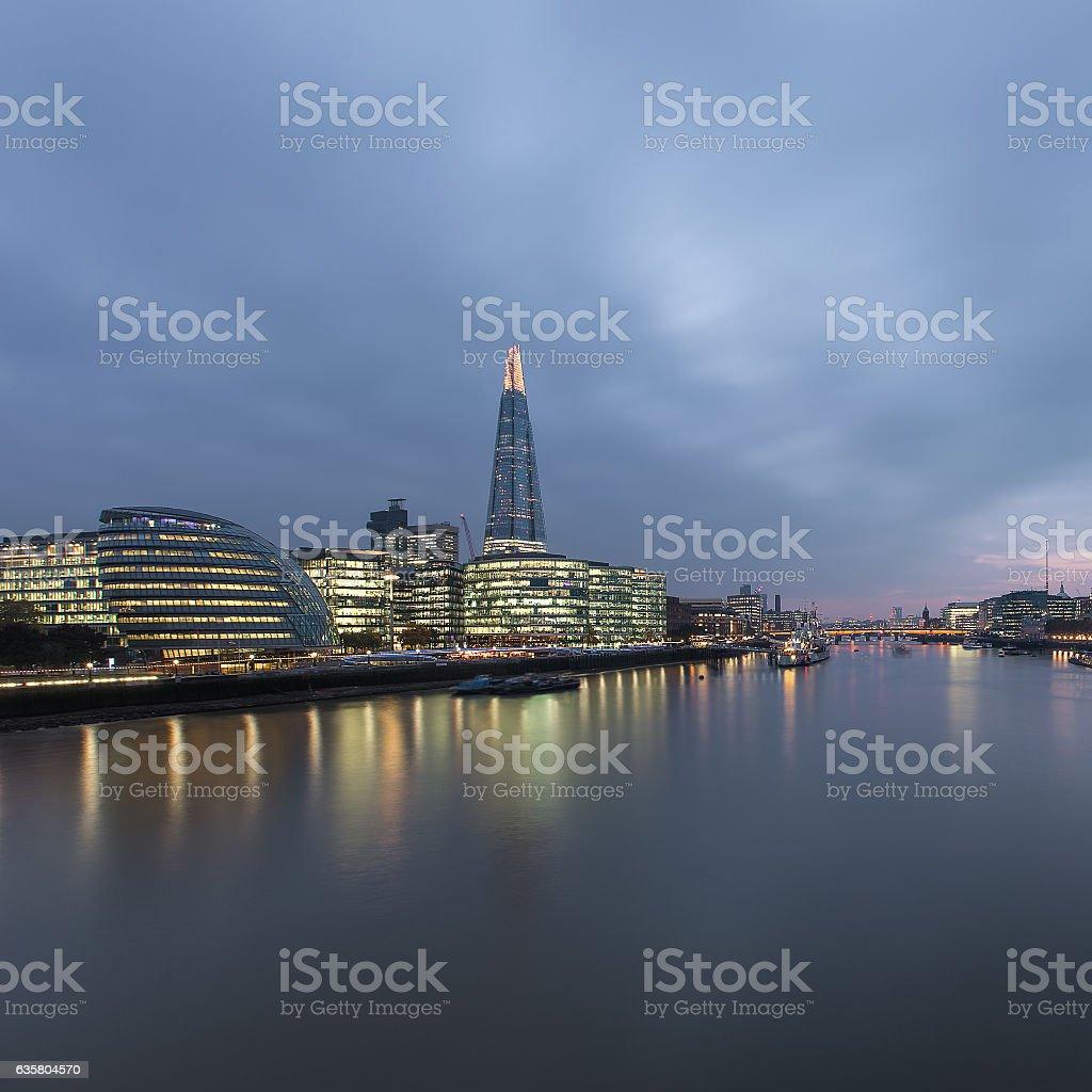London skyline at night. The shard. City hall. stock photo