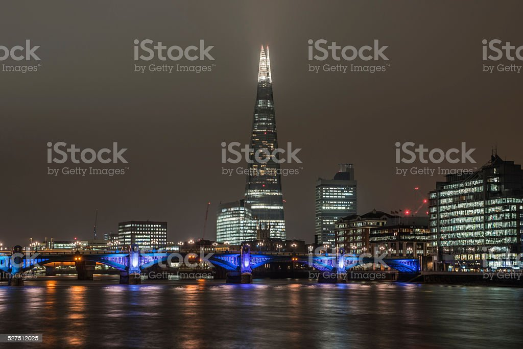 London skyline at night with the Shard stock photo