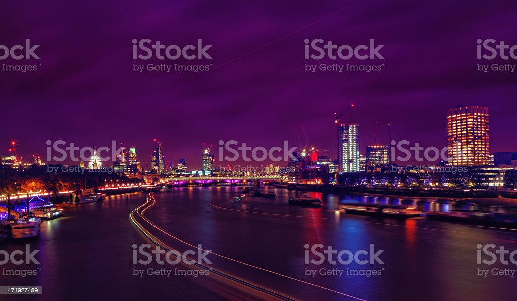 London skyline in the night stock photo