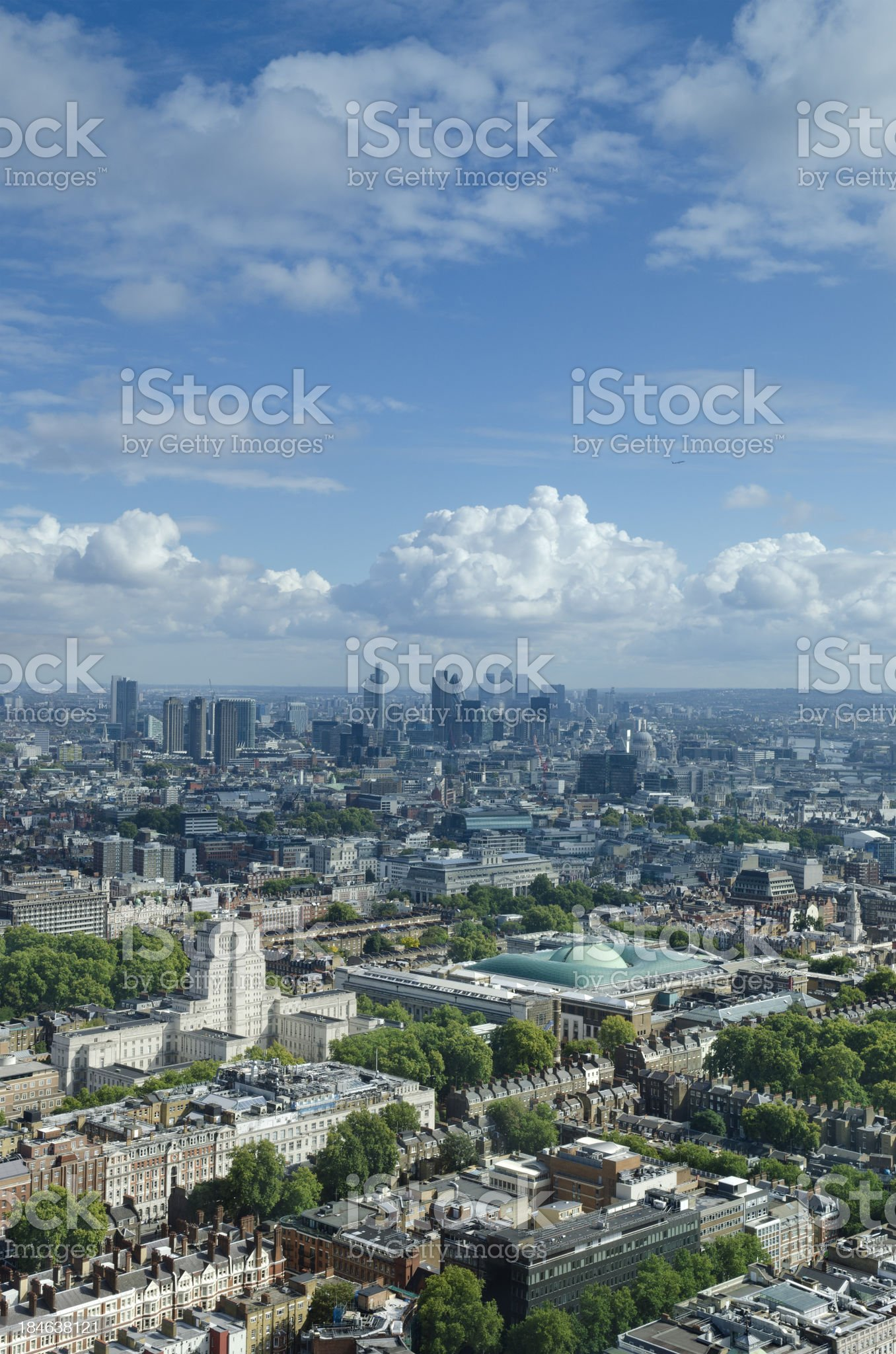 London skyline looking towards skyscrapers of The City royalty-free stock photo