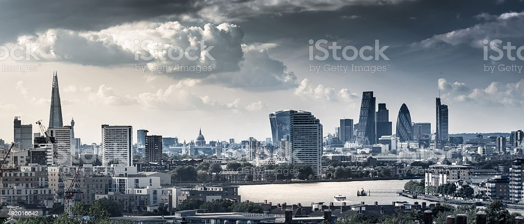 London Skyline of Many Famous Landmarks stock photo