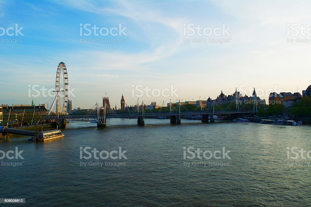 London Skyline of River Thames and Palace of Westminster stock photo