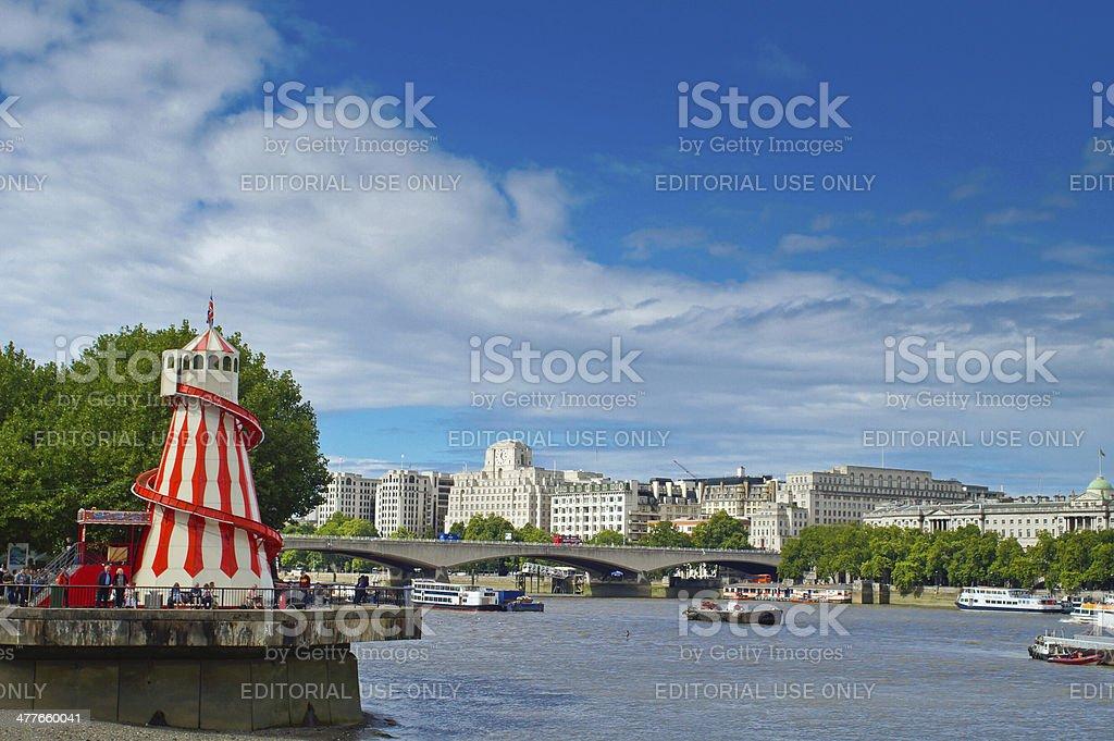 London Skyline over the Thames stock photo