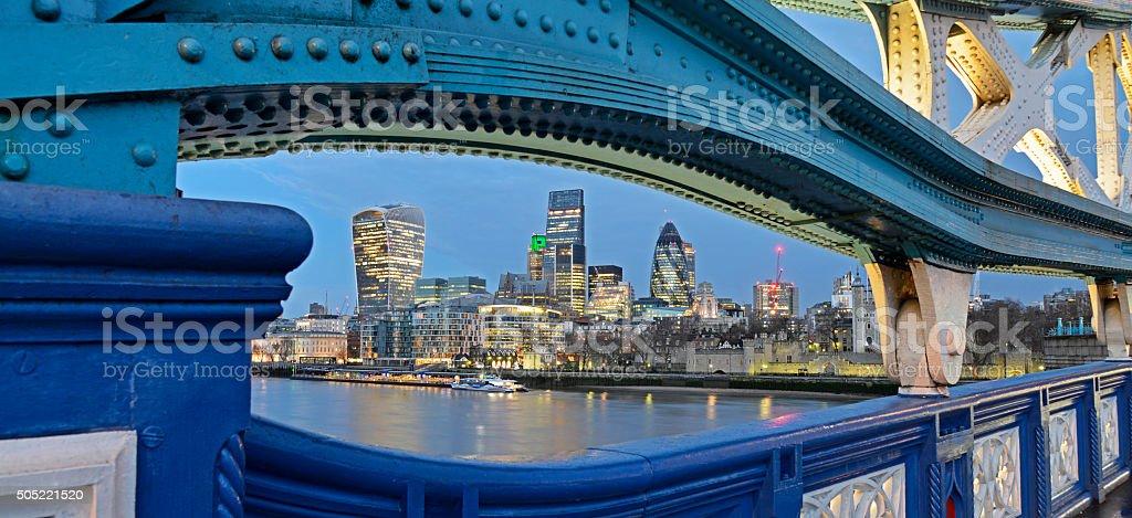 London skyline panoramic nightime view. stock photo