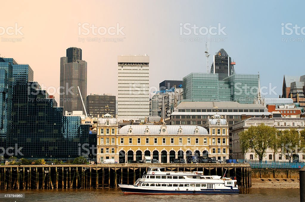 London Skyline. River Thames. Sunny day. stock photo