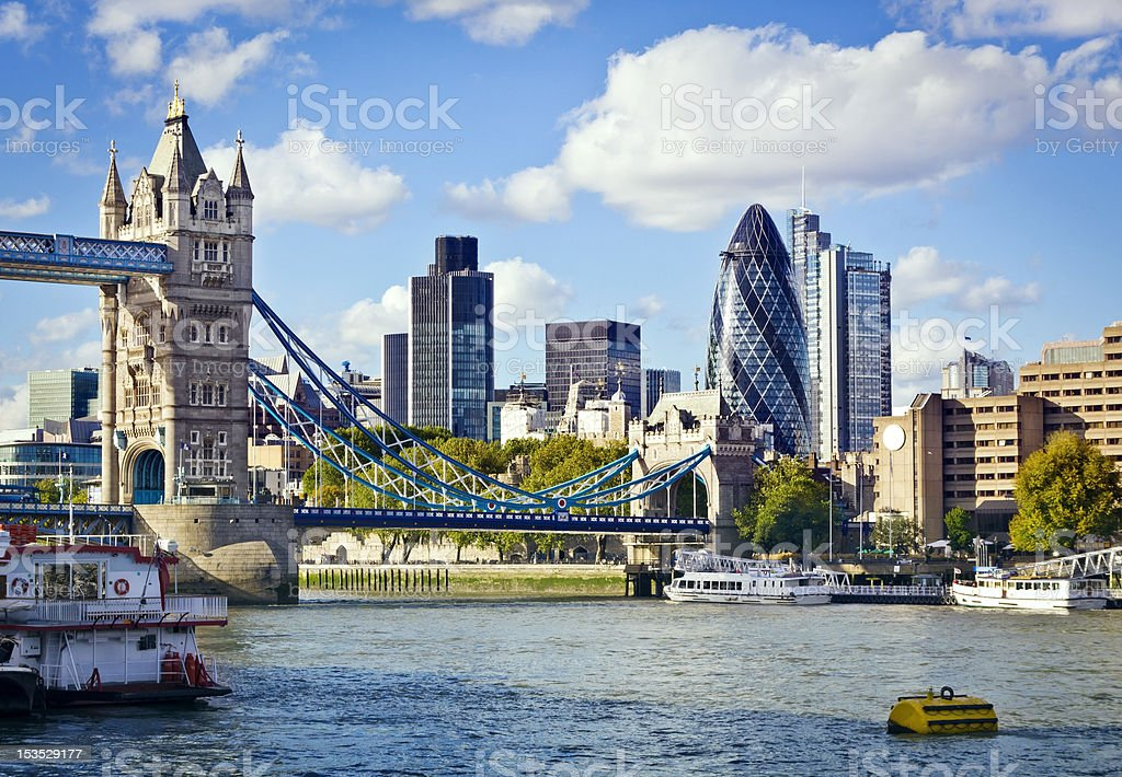 London skyline seen from the River Thames stock photo