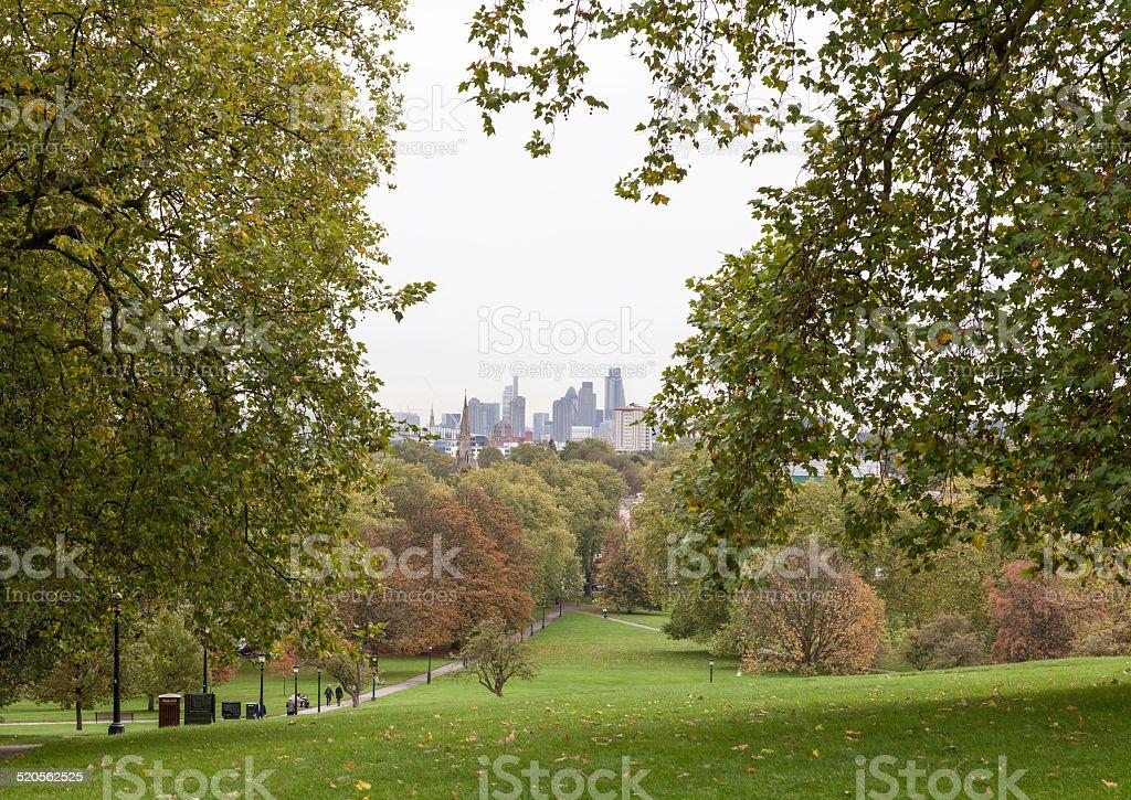 London skyline senn from Primrose hill stock photo