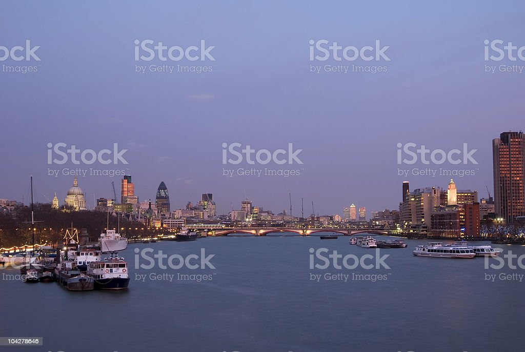 London skyline sunset, St. Paul's cathedral, Gherkin, Thames, copy space stock photo