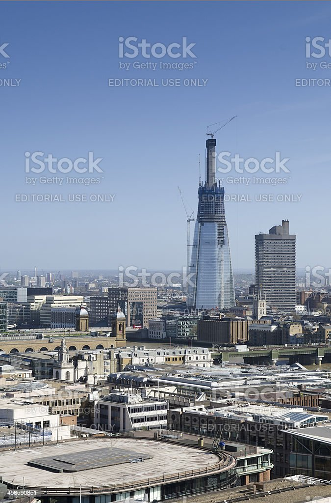 London skyline, The Shard skyscraper under construction royalty-free stock photo