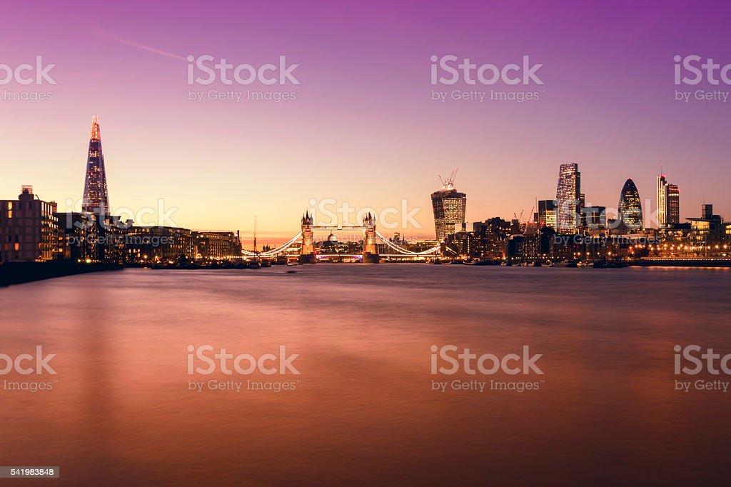 London skyline The Shard Tower Bridge City of London twilight stock photo
