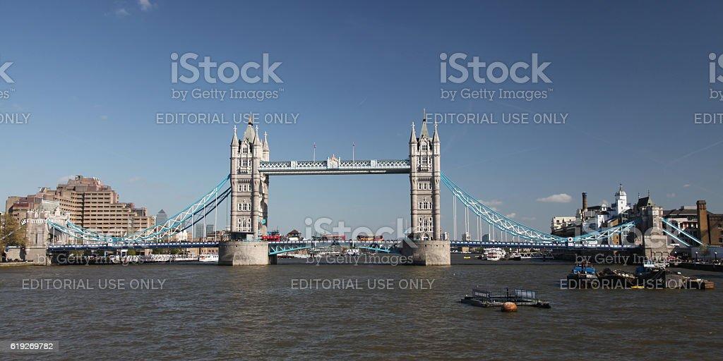 London skyline Tower bridge aerial view stock photo
