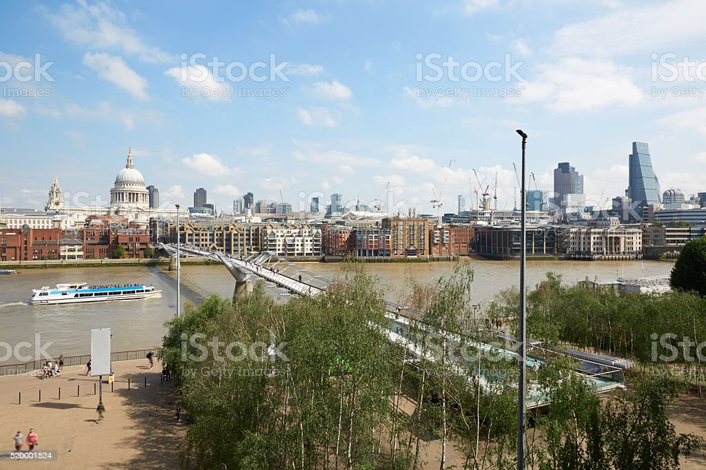 London skyline view from Tate Modern terrace stock photo