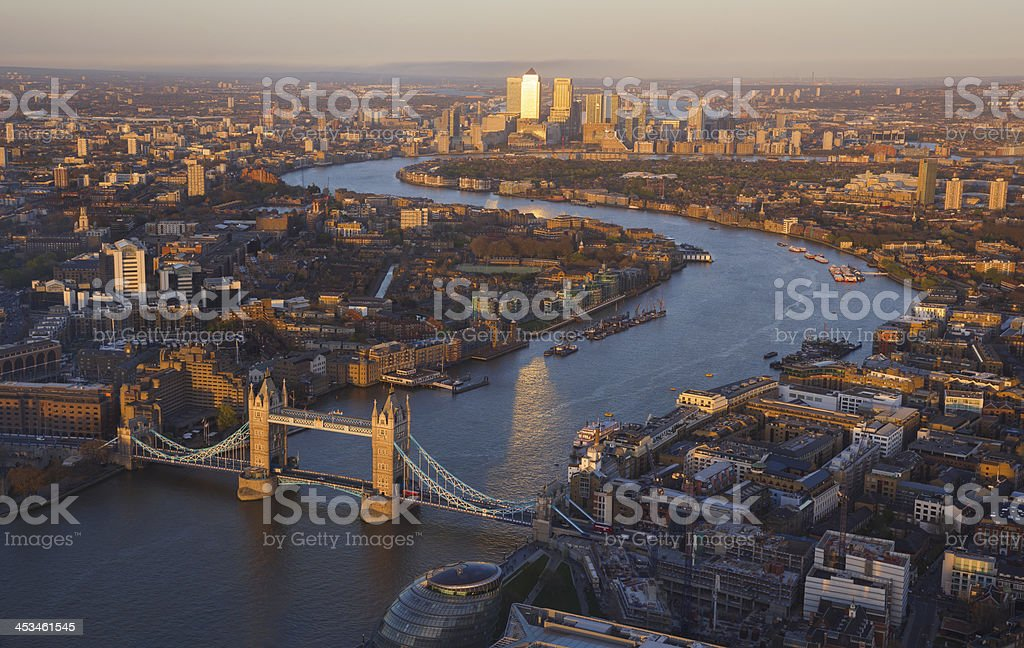 London skyline view of River Thames and Tower Bridge stock photo