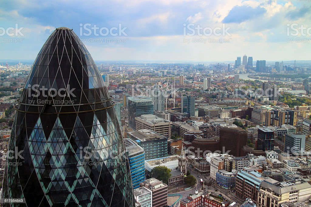 London Skyline view with Gherkin in the foreground stock photo