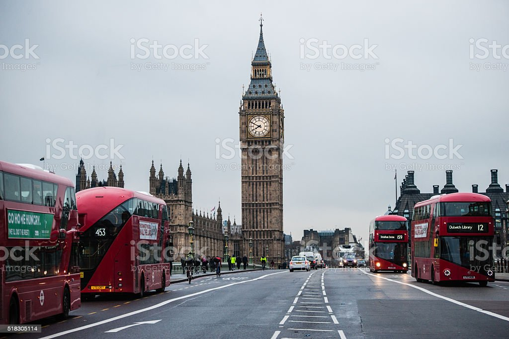 London skyline with Big Ben (Tower Clock) and London Buses stock photo