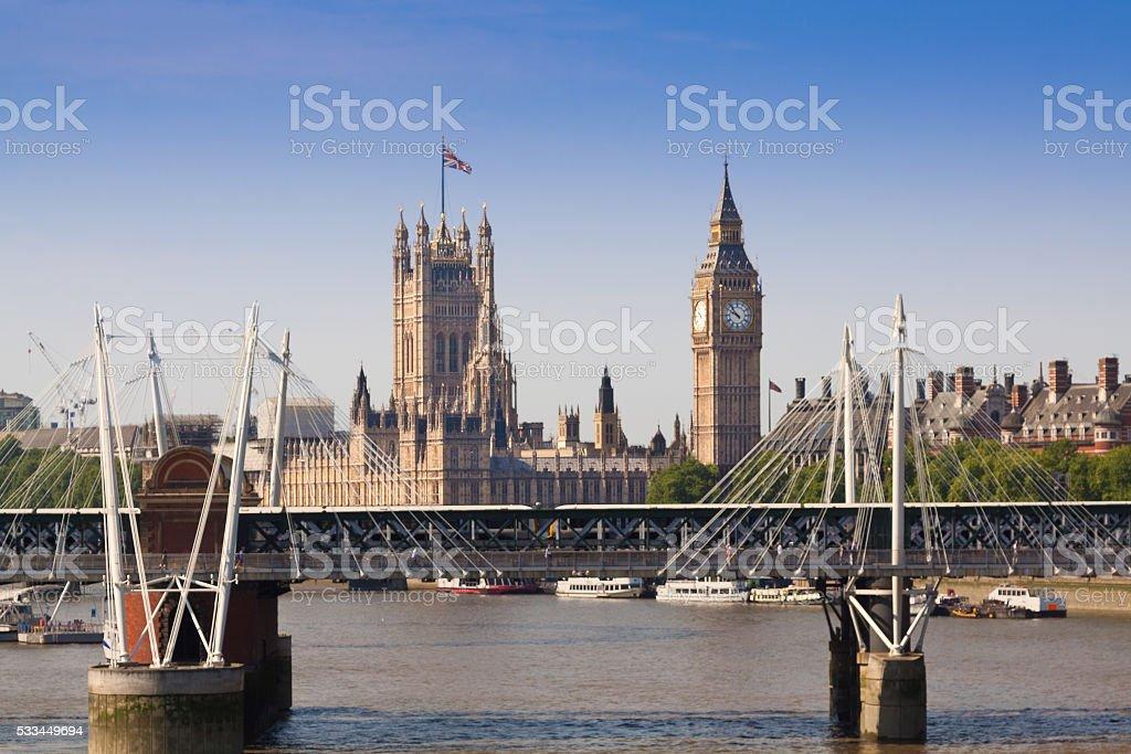 London Skyline with Big Ben, Golden Jubilee Bridge, England. stock photo
