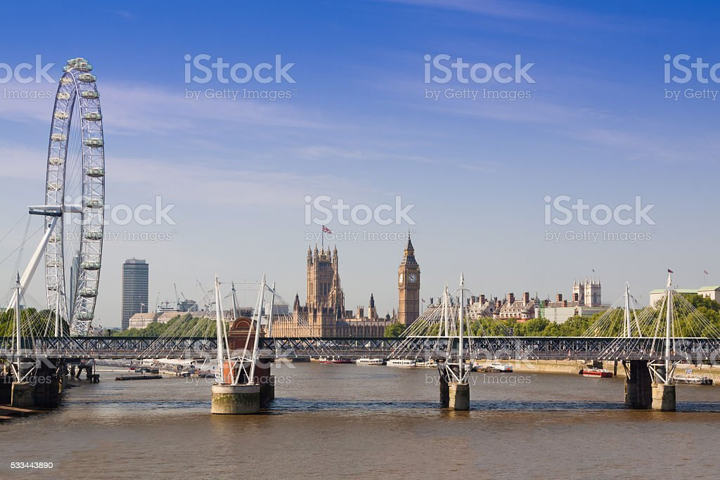London Skyline with Big Ben, London Eye, Westminster Abbey, England. stock photo