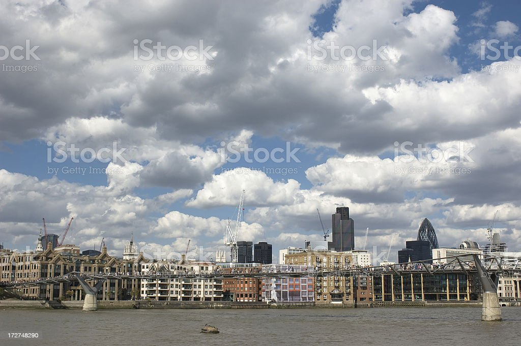 London Skyline with Millenium Bridge stock photo