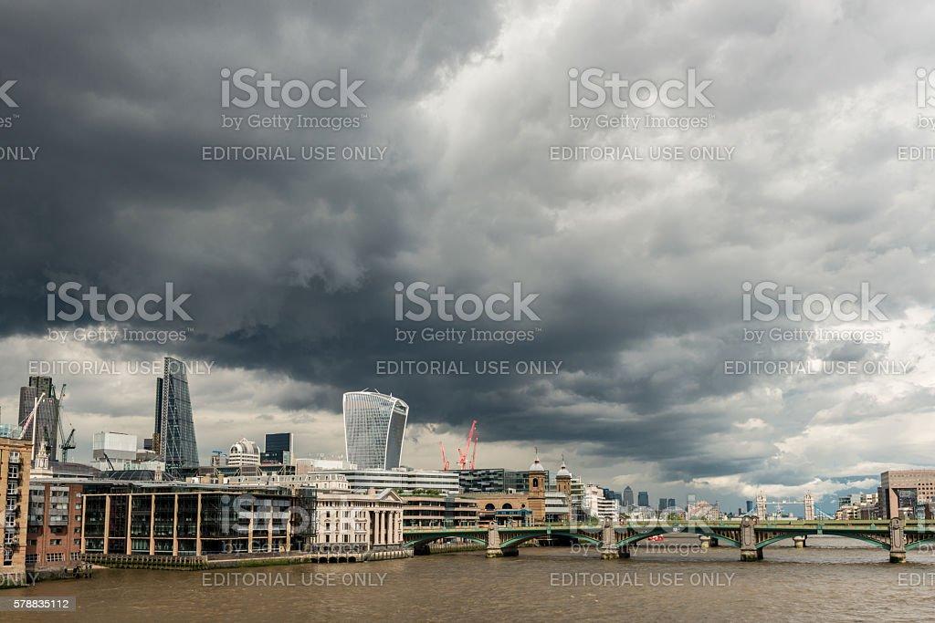 London Skyline with moody sky stock photo