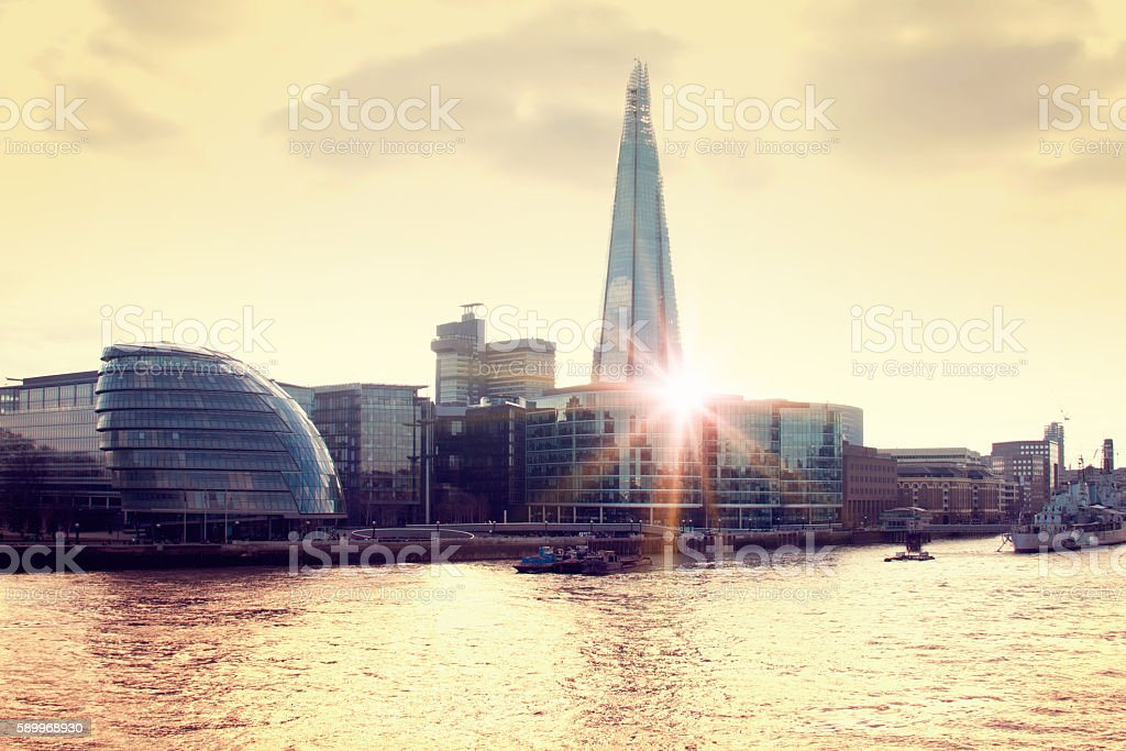 London Skyline with  Skyscraper and City Hall stock photo