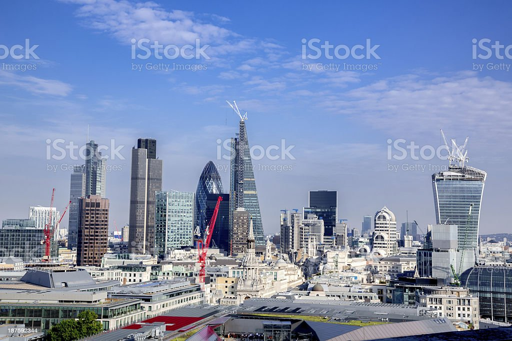 London Skyline with the Shard and Docklands from St. Pauls royalty-free stock photo