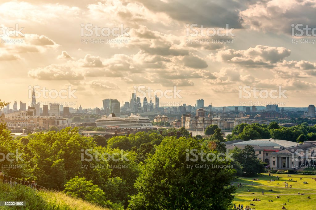 London skyline with the Shard London Bridge and City of London at...