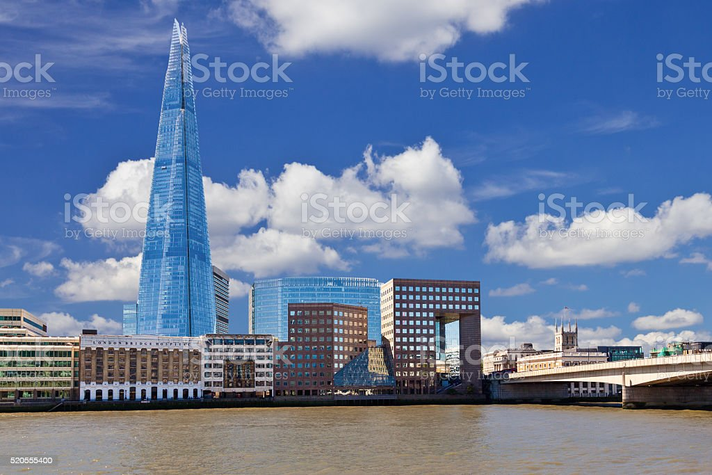London Skyline with The Shard, River Thames and London Bridge. stock photo