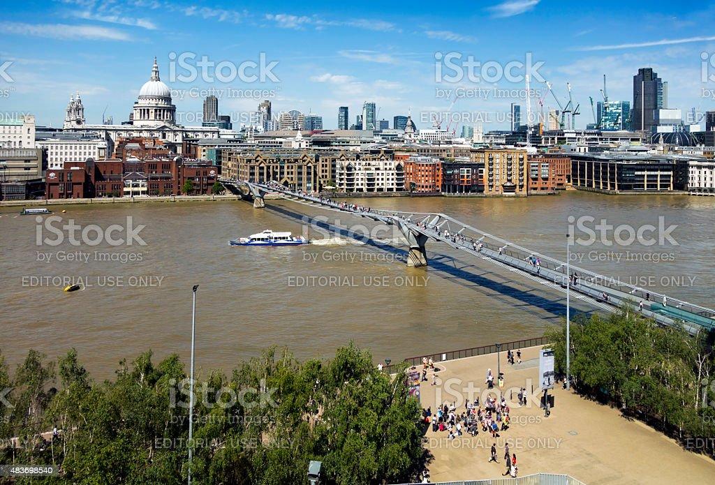 London skyline with tourists stock photo