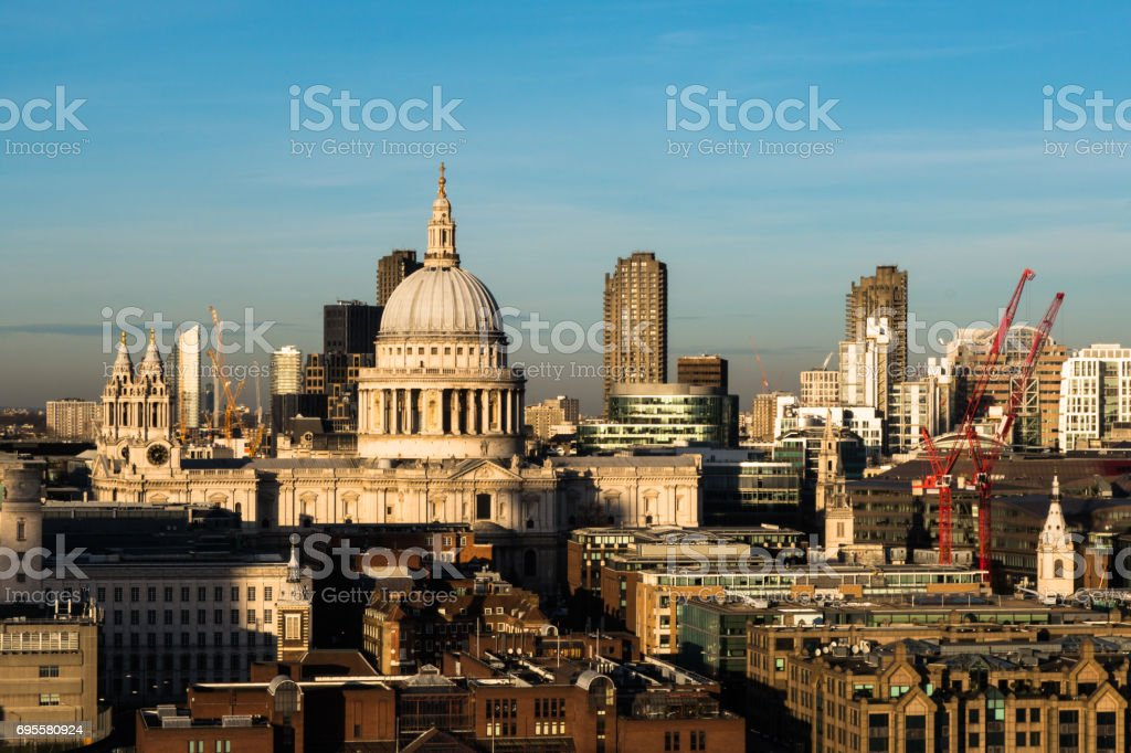 London skyline with view over St Pauls Cathedral and Barbican stock photo
