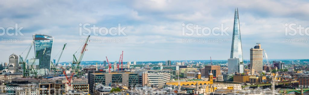 London skyscraper cityscape panorama overlooking Thames stock photo