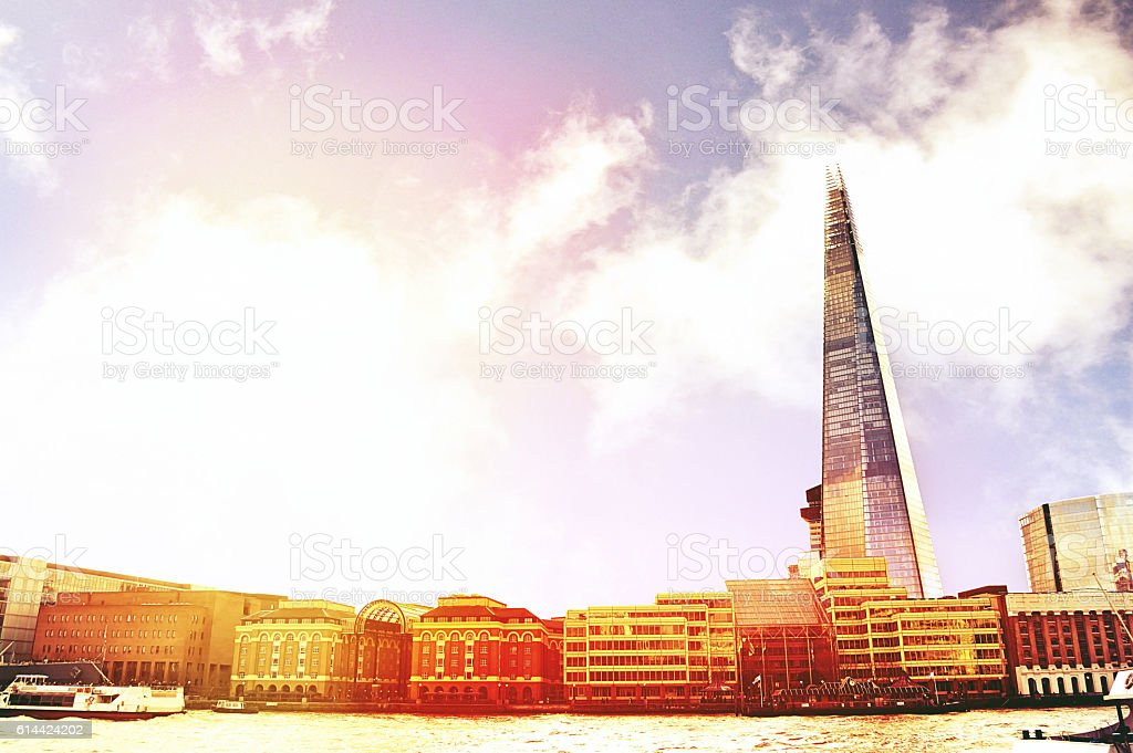 London skyscrapers Shard skyline view, Thames river stock photo