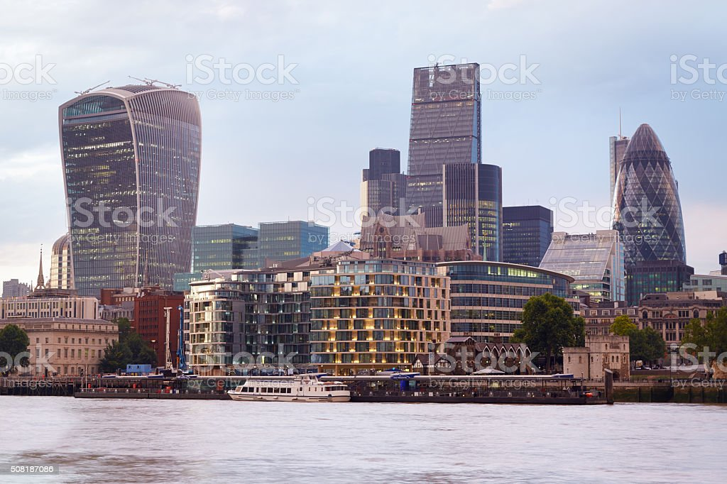 London skyscrapers skyline view at sunset, evening stock photo