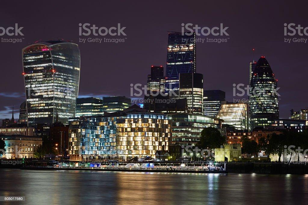 London skyscrapers skyline view illuminated at night stock photo