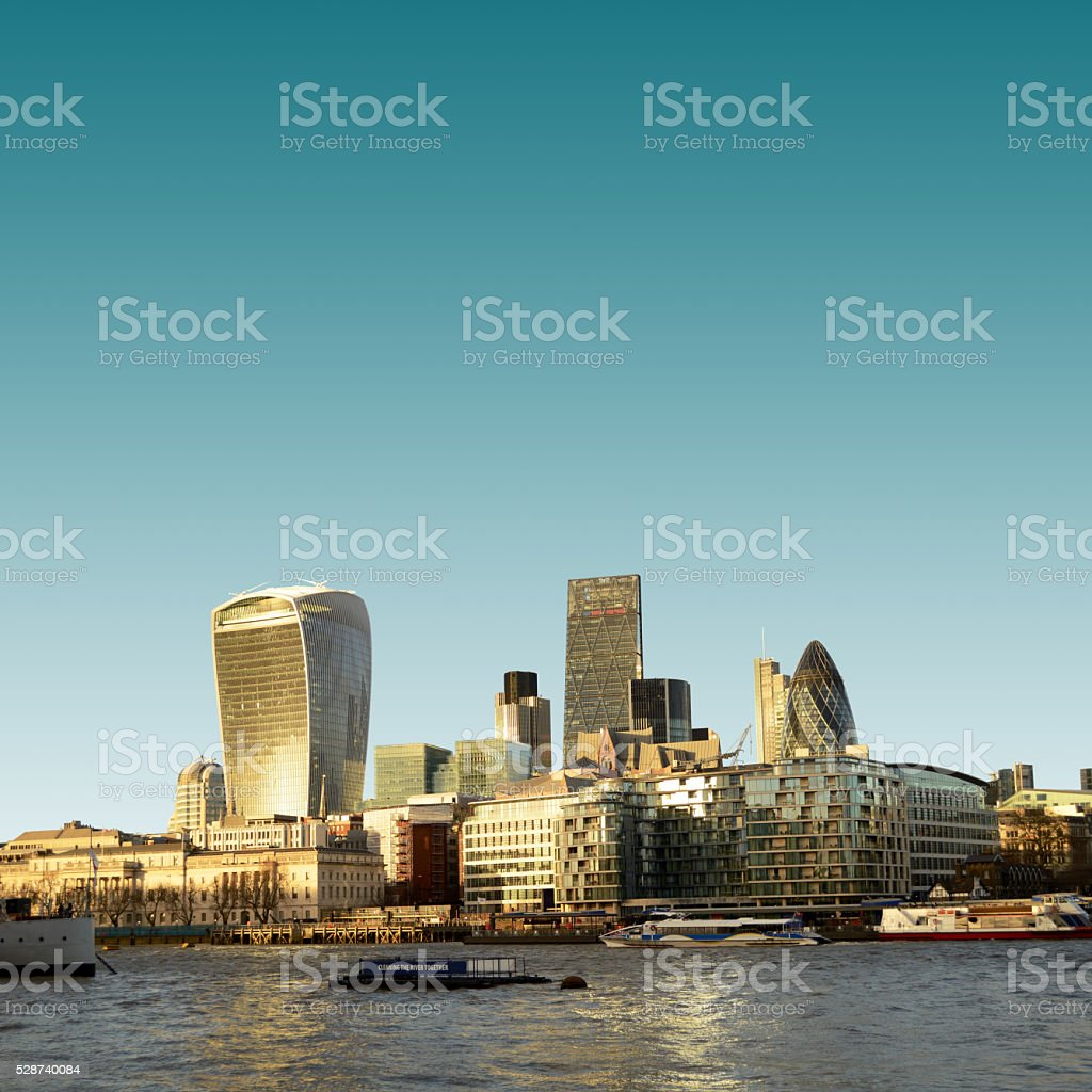 London skyscrapers skyline view, Thames river stock photo