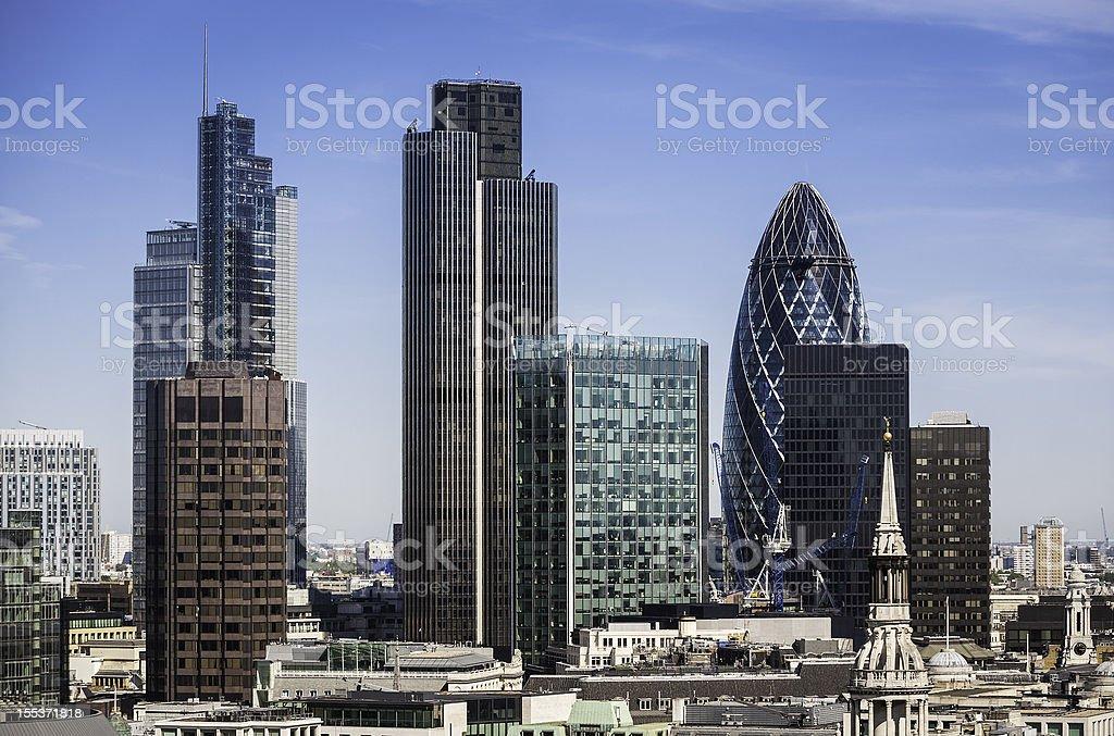 London Square Mile financial district skyscrapers stock photo