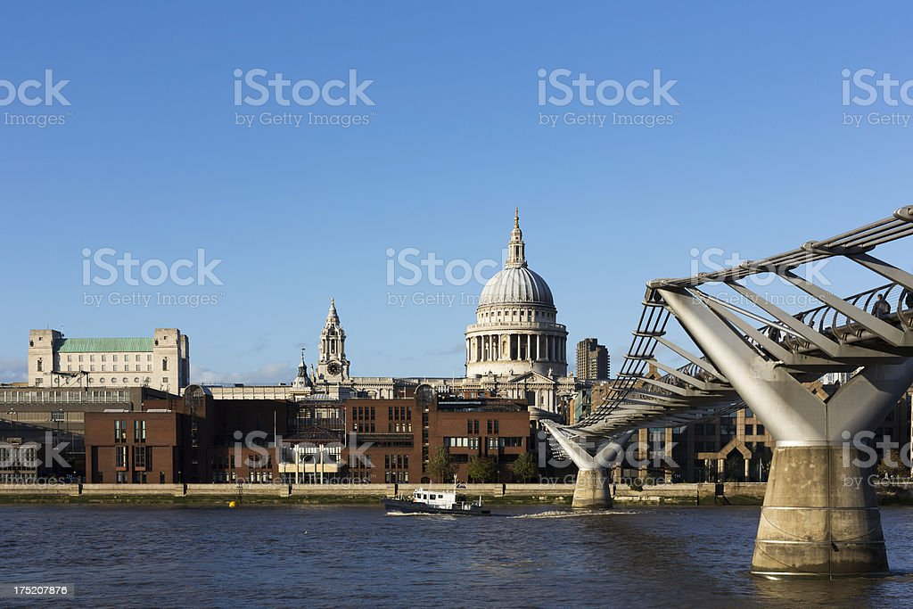 London - St Paul's Cathedral and Millenium Bridge stock photo