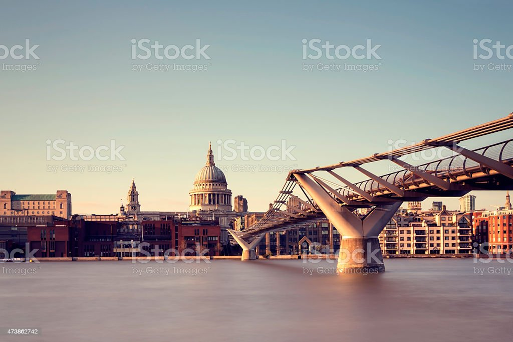 London St Paul's Cathedral and Millennium Bridge stock photo