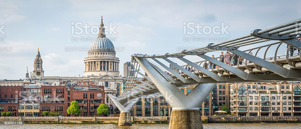 London St Pauls Cathedral Millenium Bridge over River Thames panorama stock photo