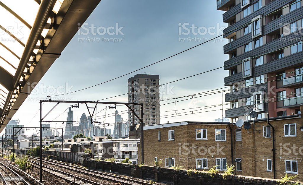 london station with a view on the skyline stock photo