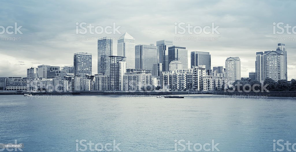 London steel skyline of Canary Wharf stock photo