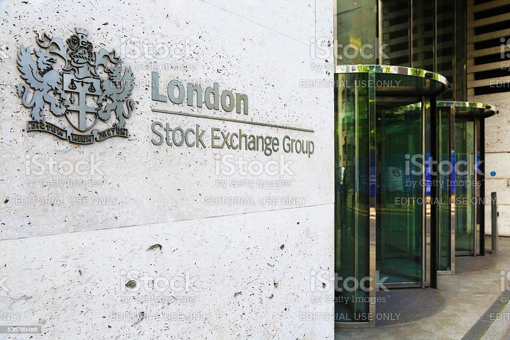 London Stock Exchange entrance stock photo