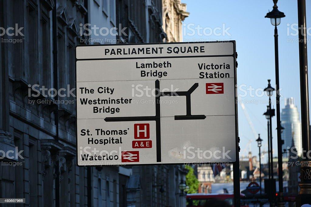 London street directions board stock photo