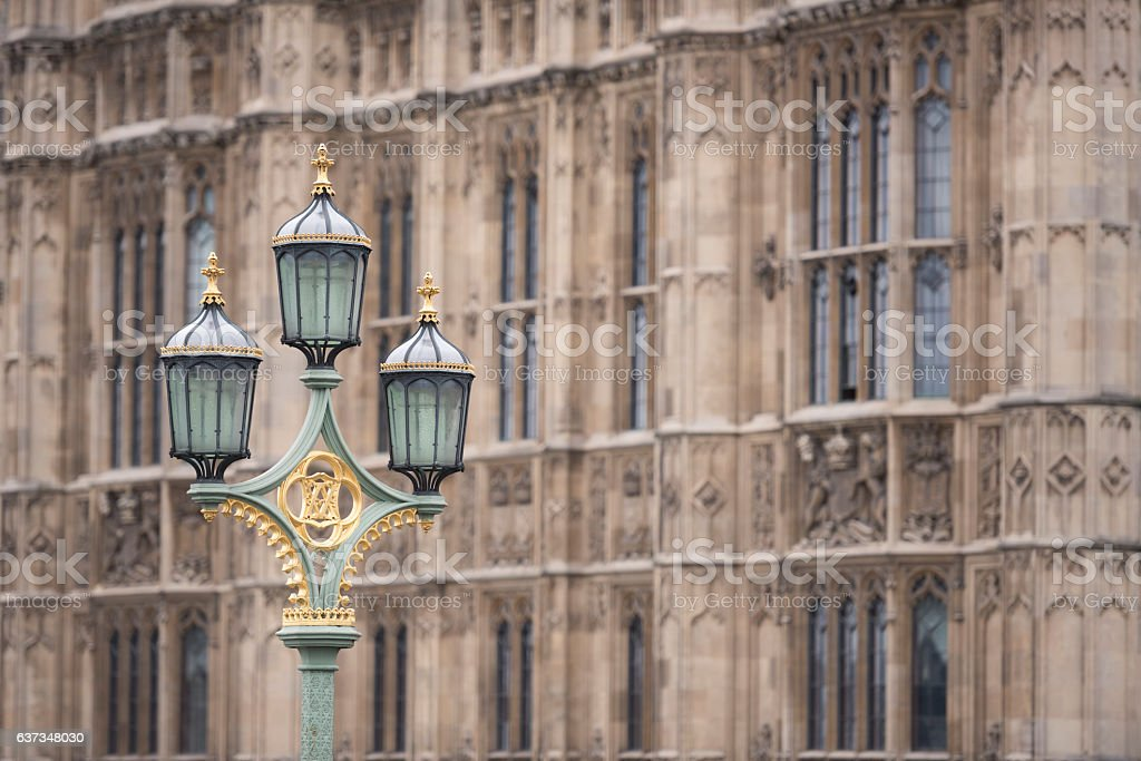 London street lamps and Houses of Parliament in Westminster stock photo