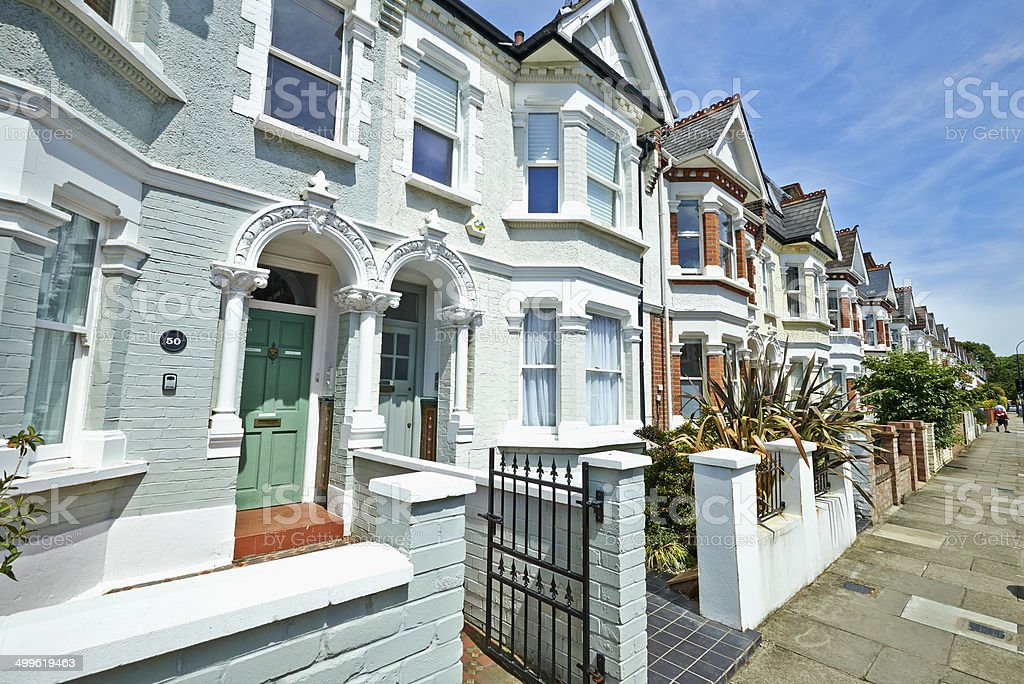 London street of early 20th century Edwardian terraced houses stock photo