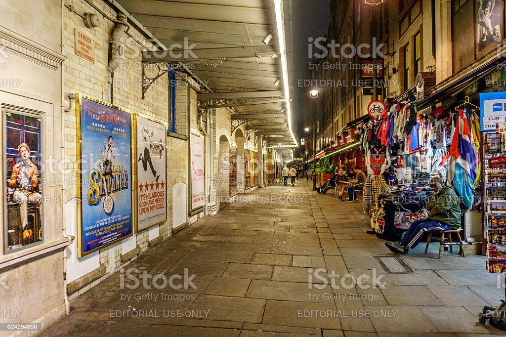 London street passageway shops in Theatreland district stock photo